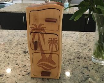 Solid Wood Box w/Drawers - Palm Trees, Jewelry Box, Handcrafted, Custom Box, Personalized Box, Handmade, Home Decor, Engraved, Stash Box