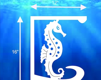 SAVE ON SETS! Seahorse Mailbox Bracket and House Number Plaque. Medium Bracket 12 x 16 inches, Plaque 7 x 13 inches (approx)