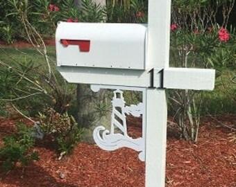 Mailbox Bracket - Lighthouse Medium 12x16 inch, Custom Mailbox, Coastal, Tropical, Bracket, Outdoor Decor, Mailbox & Post Not Included