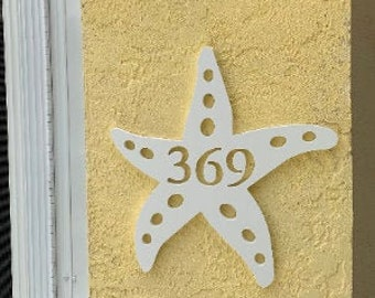 SAVE ON SETS!  Starfish Mailbox Bracket and House Number Plaque. Large Bracket 16 x 21 inches, Plaque 13 x 14 inches (approx)