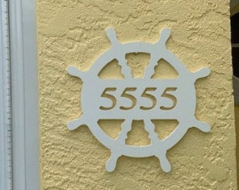 SAVE ON SETS! Ship's Wheel Mailbox Bracket and House Number Plaque. Large Bracket 16 x 21 inches, Plaque 14 x 14 inches (approx)