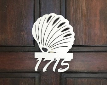 Save on Sets! Seashell Mailbox Bracket AND House Number Sign. Large Bracket 16 x 21 inches, Sign 14 x 11 inches (approx)