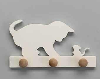 Coat Rack - Cat and Mouse, Robe Hook, Apron Hook, Hat Rack, Wall Hook, Entryway Organizer, Free Shipping to Mainland USA, USA Handmade
