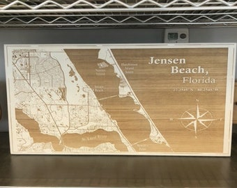Map engraved - Jensen Beach, Florida. Custom Engraving, Wood Wall Art, Laser Engraved, Topographic, Wall Art, Custom Gift, 24 x 12 inches