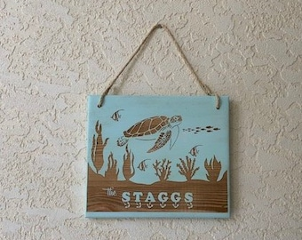Wall Plaque, Turtle Ocean Scene Name Sign. Laser engraved on recycled pallet wood, personalized for you.