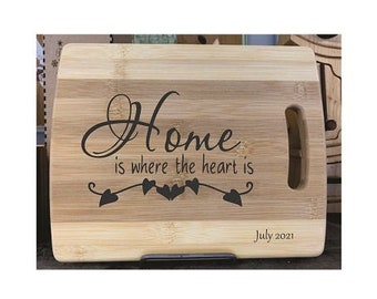 Cutting Board - Home Hearts on a string - Laser Engraved, Chopping Board, Personalized, Custom Gift, Ships Free to Mainland USA