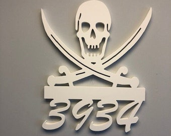 House Number Sign, Pirate, Address Plaque, Address Sign, Custom, Personalized Sign, Housewarming Gift, Coastal, Tropical, Outdoor Decor