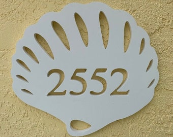 SAVE ON SETS! Seashell Mailbox Bracket and House Number Plaque. Large Bracket 16 x 21 inches, Plaque 14 x 11 inches (approx)