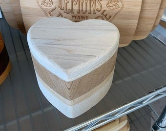 Solid Wood Box - Heart Shaped, Jewelry Box, Handcrafted, Custom Box, Personalized Box, Handmade, Box, Home Decor, Engraved, Stash Box