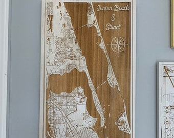 Map engraved - Jensen Beach and Stuart, Custom Engraving, Wood Wall Art, Laser Engraved, Topographic, Wall Art, Custom Gift, 24 x 12 inches