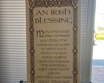Map engraved - Irish Blessing, Custom Engraving, Wood Wall Art, Laser Engraved, Topographic, Custom Map, Custom Gift, 24 X 12 inches