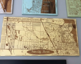 Map engraved - Palm City, Florida, Custom Engraving, Wood Wall Art, Laser Engraved, Topographic, Wall Art, Custom Gift, 24 x 12 inches