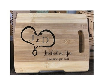 Cutting Board - Hooked On You - Laser Engraved, Chopping Board, Personalized, Custom Gift, Ships Free to Mainland USA