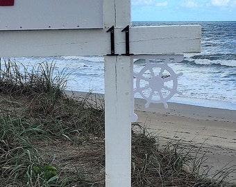 Mailbox Bracket - Ship's Wheel 7x9 inch, Custom Mailbox, Coastal, Tropical, Bracket, Outdoor Decor, Mailbox & Post Not Included
