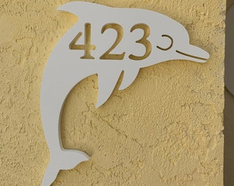 House Number Plaque - Dolphin, Address Plaque, Custom, Personalized, Housewarming Gift, Tropical, Outdoor Decor, Ships Free To Mainland USA