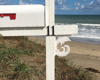 Mailbox Bracket - Dolphin Small 7x9 inch, Custom Mailbox, Coastal, Tropical, Bracket, Outdoor Decor, Mailbox & Post Not Included
