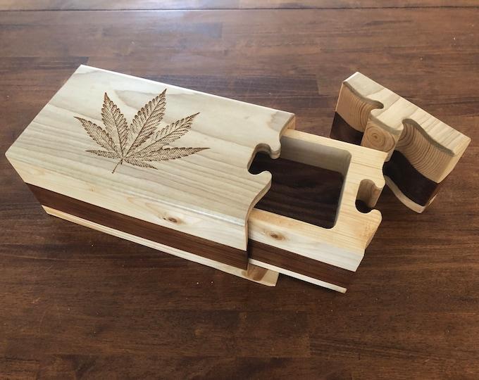 Featured listing image: Solid Wood Puzzle Box - Marijuana, Wooden Box, Jewelry Box, Handcrafted, Custom Box, Personalized Box, Handmade, Box, Engraved, Stash Box