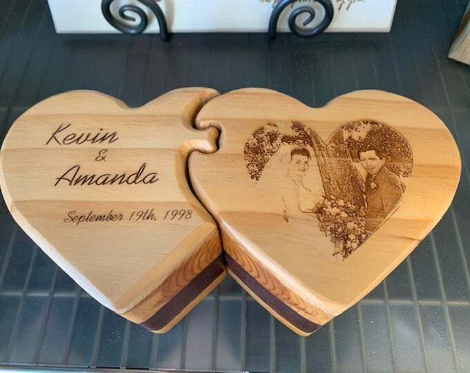Featured listing image: Wooden Box, Double Heart Shaped, Jewelry Box, Handcrafted, Custom Box, Personalized Box, Handmade, Box, Home Decor, Engraved, Stash Box
