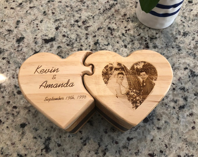 Featured listing image: Wooden Box with Drawers, Double Heart, Jewelry Box, Handcrafted, Custom Box, Personalized Box, Handmade, Box, Home Decor, Engraved Stash Box