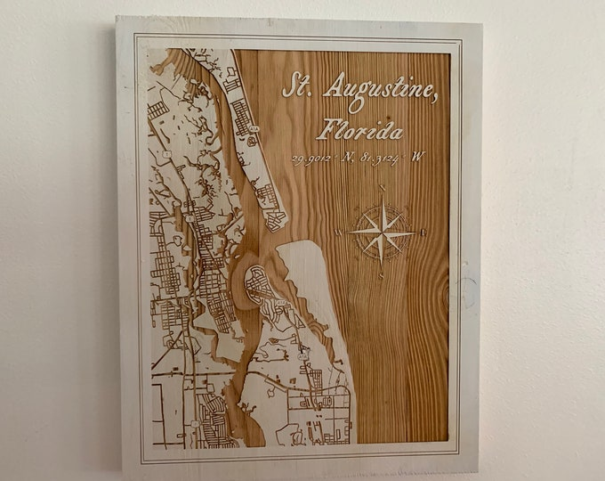 Featured listing image: Map engraved, St Augustine, Custom Engraving, Wood Wall Art, Laser Engraved, Topographic, Wall Art, Custom Gift, 16 x 2 inches