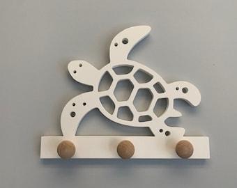 Coat Rack - Turtle Design, Robe Hook, Apron Hook, Hat Rack, Wall Hook, Entryway Organizer, Free Shipping to Mainland USA, USA Handmade