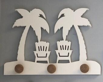 Coat Rack - Palm Trees and Adirondack Chairs, Robe Hook, Apron Hook, Hat Rack, Wall Hook, Free Shipping to Mainland USA, USA Handmade