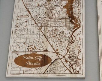 Map engraved - Palm City, Florida, Custom Engraving, Wood Wall Art, Laser Engraved, Topographic, Wall Art, Custom Gift 16 x 12 inches