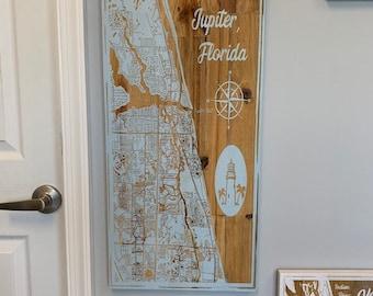 Map engraved - Jupiter Florida, Custom Engraving, Wood Wall Art, Laser Engraved, Topographic, Wall Art, Custom Gift, 24 x 12 inches