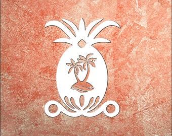 Wall Art, Pineapple with Palm Trees, Tropical, Outdoor Decor, Housewarming Gift, Nautical, Coastal, Custom, PVC Wall Art, Long Lasting