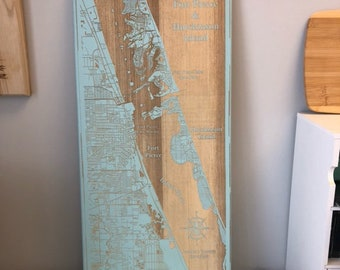 Map engraved - Fort Pierce, Florida, Custom Engraving, Wood Wall Art, Laser Engraved, Topographic, Custom Map, Custom Gift, 24 x 12 inches