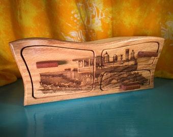 Solid Wood Box w/Drawers - Train, Jewelry Box, Handcrafted, Custom Box, Personalized Box, Handmade, Box, Home Decor, Engraved, Stash Box