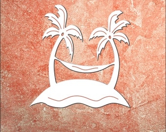 Wall Art, Hammock, Palm Trees and Hammock, Outdoor Decor, Housewarming Gift, Nautical, Coastal, Custom, PVC Wall Art, Long Lasting