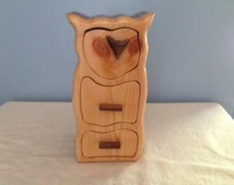 Solid Wood Box w/Drawers - Owl, Jewelry Box, Handcrafted, Custom Box, Personalized Box, Handmade, Box, Home Decor, Engraved, Stash Box