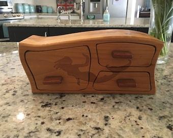 Solid Wood Box w/Drawers - Mermaid Swim, Jewelry Box, Handcrafted, Custom Box, Personalized Box, Handmade, Home Decor, Engraved, Stash Box