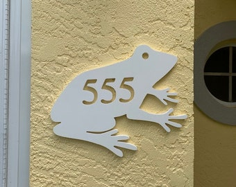 House Number Plaque - Frog Sitting, Address Plaque, Custom, Personalized, Housewarming Gift, Outdoor Decor, Ships Free To Mainland USA