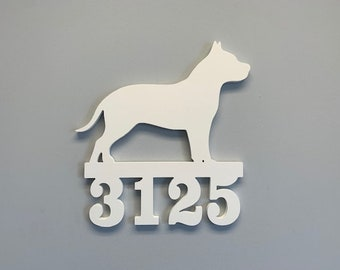 House Number Sign, Pitbull, Address Plaque, Address Sign, Custom, Personalized Sign, Housewarming Gift, Coastal, Tropical, Outdoor Decor