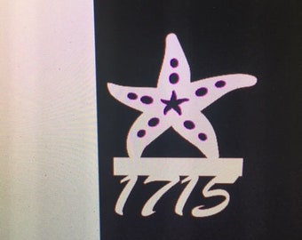Save on Sets! Starfish Mailbox Bracket AND House Number Sign. Large Bracket 16 x 21 inches, Sign 13 x 14 inches (approx)
