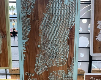 Map engraved - Manhattan, New York, Custom Engraving, Wood Wall Art, Laser Engraved, Topographic, Wall Art, Custom Gift, 24 x 12 inches