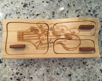 Solid Wood Box w/Drawers - Guitar Head Fender, Jewelry Box, Handcrafted, Custom Box, Personalized Box, Handmade, Decor, Engraved, Stash Box