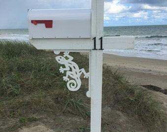 Mailbox Bracket - Gecko Medium 12x16 inch, Custom Mailbox, Coastal, Tropical, Bracket, Outdoor Decor, Mailbox & Post Not Included