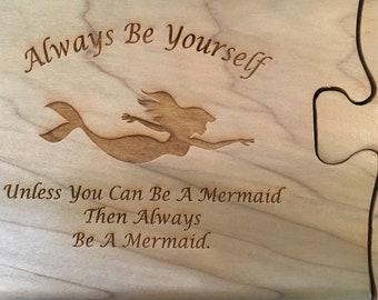 Solid Wood Puzzle Box - Mermaid Always, Wooden Box, Jewelry Box, Handcrafted, Custom Box, Personalized Box, Handmade, Engraved, Stash Box