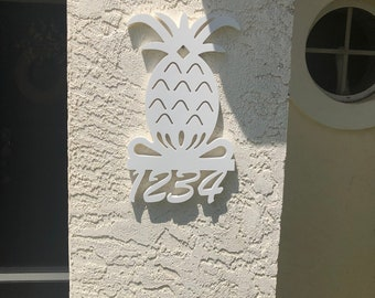 House Number Sign, Pineapple, Address Plaque, Address Sign, Custom, Personalized Sign, Housewarming Gift, Coastal, Tropical, Outdoor Decor