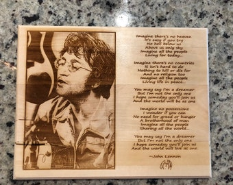 Wall Plaque, John Lennon - Imagine,  Picture and Lyrics