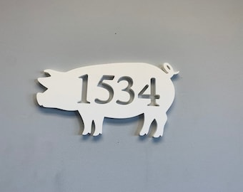 House Number Plaque - Pig, Address Plaque, Custom, Personalized, Housewarming Gift, Tropical, Outdoor Decor, Ships Free To Mainland USA