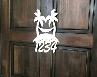 House Number Sign, Palm Tree Hammock, Address Plaque, Address Sign, Custom, Personalized Sign, Housewarming Gift, Coastal, Tropical, Outdoor