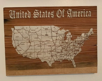 Map engraved - United States, Custom Engraving, Wood Wall Art, Laser Engraved, Topographic, Wall Art, Custom Gift, 16 x 12 inches