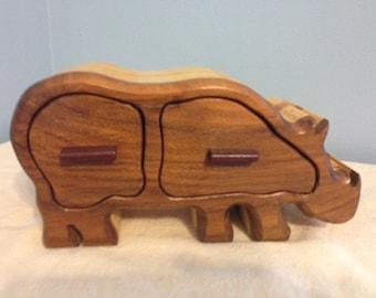 Solid Wood Box w/Drawers - Rhinoceros, Jewelry Box, Handcrafted, Custom Box, Personalized Box, Handmade, Home Decor, Engraved, Stash Box