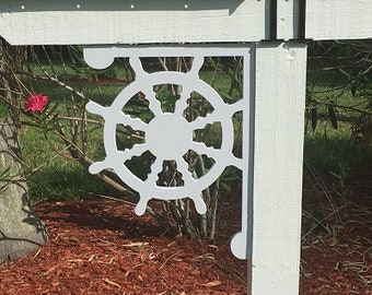 SAVE ON SETS! Ship's Wheel Mailbox Bracket and House Number Plaque. Medium Bracket 12 x 16 inches, Plaque 14 x 14 inches (approx)