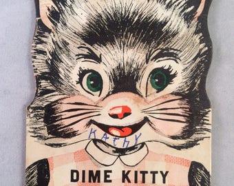 Vintage 1954 Dime Kitty Savings Bank Advertising