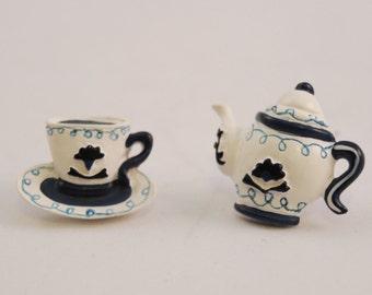 Wonderland Victorian Tea Time Mori Girl Hand Painted Earrings